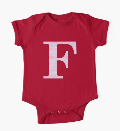 Letter F Blue And Pink Dots And Dashes Monogram Initial One Piece - Short Sleeve