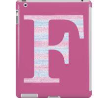 Letter F Blue And Pink Dots And Dashes Monogram Initial iPad Case/Skin