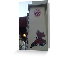 Butterfly and space invader Greeting Card