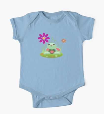 Little Green Baby Bunny With Flowers One Piece - Short Sleeve