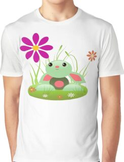 Little Green Baby Bunny With Flowers Graphic T-Shirt