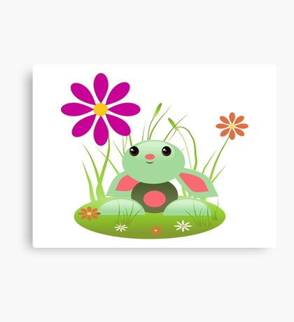 Little Green Baby Bunny With Flowers Canvas Print