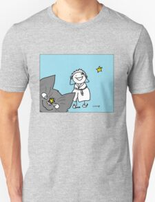 Cat jumping in front of camera with woman laughing and stars smiling Unisex T-Shirt