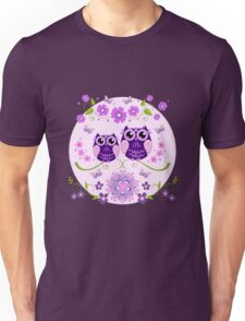 Cute Owls, Flowers and Butterflies Unisex T-Shirt