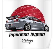 Nissan Skyline GTR R34 (grey) Poster