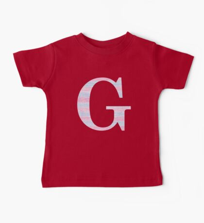 Letter G Blue And Pink Dots And Dashes Monogram Initial Baby Tee
