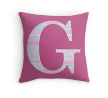 Letter G Blue And Pink Dots And Dashes Monogram Initial Throw Pillow