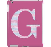Letter G Blue And Pink Dots And Dashes Monogram Initial iPad Case/Skin