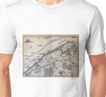 Vintage Map of Bruges Belgium (17th Century) Unisex T-Shirt