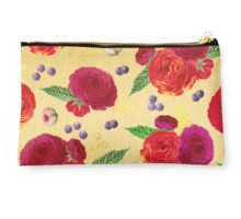 Winter Berry Floral Gold Studio Pouch
