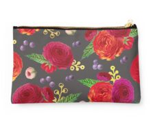 Winter Berry Floral Grey Studio Pouch