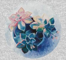 Pastel Succulents - an oil painting on canvas One Piece - Short Sleeve