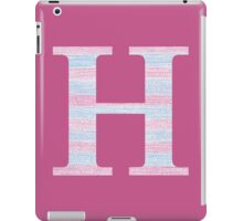 Letter H Blue And Pink Dots And Dashes Monogram Initial iPad Case/Skin
