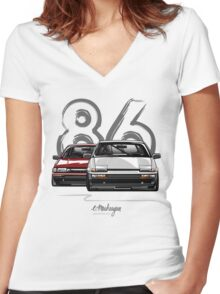 Toyota AE86 hachi roku Women's Fitted V-Neck T-Shirt