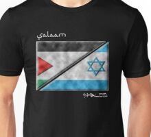 Salaam & Shalom -- Split Palestinian & Israeli Flags for Peace Unisex T-Shirt
