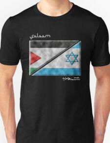 Salaam & Shalom -- Split Palestinian & Israeli Flags for Peace T-Shirt