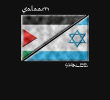 Salaam & Shalom -- Split Palestinian & Israeli Flags for Peace Unisex T-Shirt