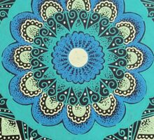 Blue and Green Moonlight Mandala Sticker