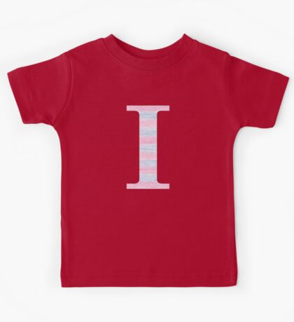 Letter I Blue And Pink Dots And Dashes Monogram Initial Kids Tee