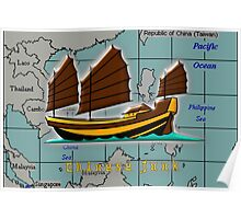 A Chinese Junk on a Map of the South China Sea Poster