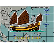 A Chinese Junk on a Map of the South China Sea Photographic Print