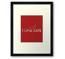 I Love Cats - Red Framed Print
