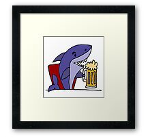 Cool Funky Funny Shark Drinking Beer Framed Print