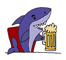 Cool Funky Funny Shark Drinking Beer Photographic Print