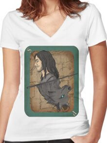 Sirius Black Playing Card Women's Fitted V-Neck T-Shirt