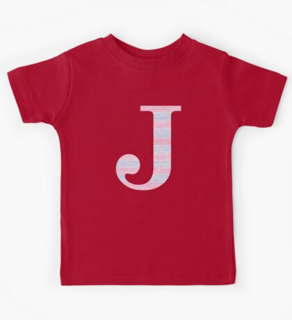 Letter J Blue And Pink Dots And Dashes Monogram Initial Kids Tee