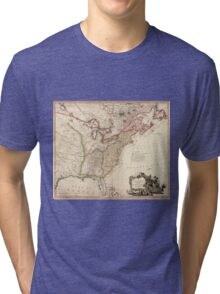 Vintage Map of North America Tri-blend T-Shirt