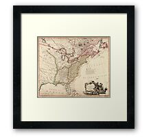 Vintage Map of North America Framed Print
