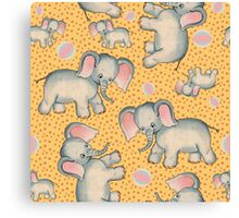 Cute Baby Elephant pattern vintage illustration for children Canvas Print