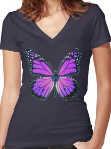 Ultraviolet Butterfly Women's Fitted V-Neck T-Shirt