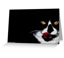 Tuxedo Kitty Lick Greeting Card
