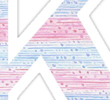 Letter K Blue And Pink Dots And Dashes Monogram Initial Sticker