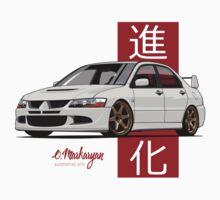 Mitsubishi Lancer Evolution VIII (white) Kids Tee