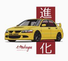 Mitsubishi Lancer Evolution VIII (Yellow) One Piece - Long Sleeve