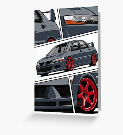 Mitsubishi Lancer Evolution VIII (gray) Greeting Card