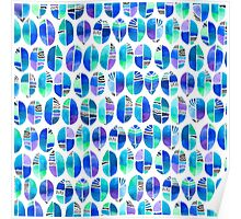 Oceanic Coffee Beans Pattern Poster