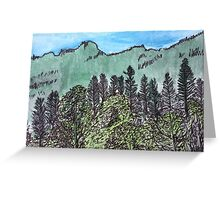 Trees and mountains Greeting Card