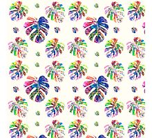 Tropical watercolor leaf pattern Photographic Print