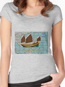 A Chinese Junk on a Map of the South China Sea Women's Fitted Scoop T-Shirt