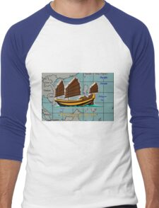 A Chinese Junk on a Map of the South China Sea Men's Baseball ¾ T-Shirt