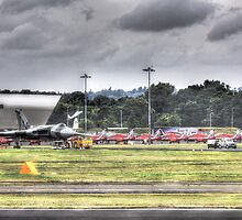 Avro Vulcan XH558 and The Red Arrows by Nigel Bangert
