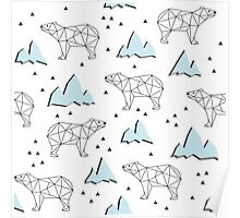 Abstract polygonal bear seamless pattern background. Bears on a background of mountains Poster