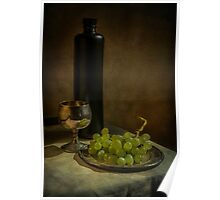 Still life with wine and grapes Poster