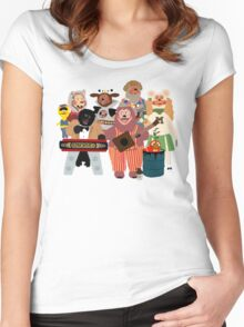 Rockafire- Showbiz Pizza Characters Women's Fitted Scoop T-Shirt