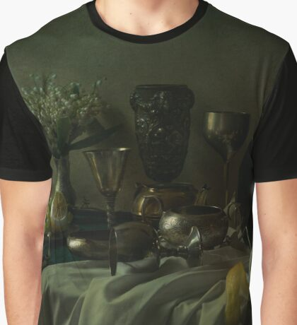 Still life with metal dishes, fruits and fresh flowers Graphic T-Shirt