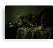 Still life with metal dishes, fruits and fresh flowers Canvas Print
